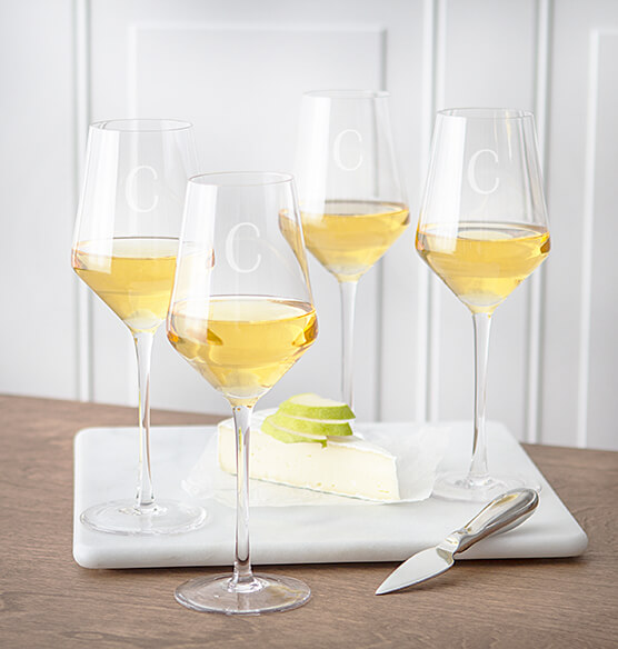 Personalized White Wine Estate Glasses Set of 4, 14 oz.