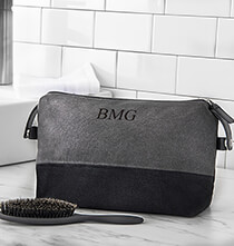 All Gifts for Him - Personalized Two Tone Dopp Kit, Grey/Black