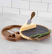 Gifts for the Hostess - Personalized Slate and Acacia Cheese Board with Utensils