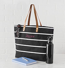 Accessories for Her - Personalized Large Striped Tote Bag