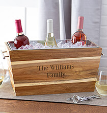 Gifts for the Hostess - Personalized Acacia Beverage Trough