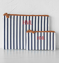 Accessories for Her - Personalized Striped Clutch Set