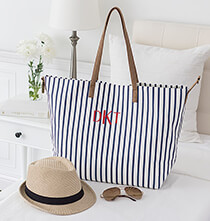 Accessories for Her - Personalized Striped Overnight Tote