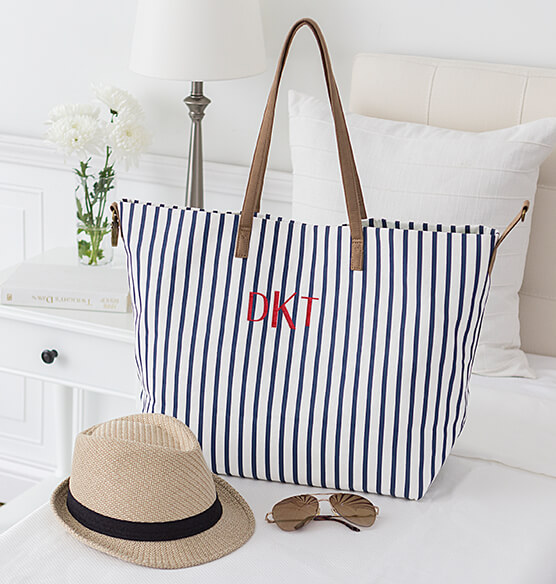 Personalized Striped Overnight Tote - View 1