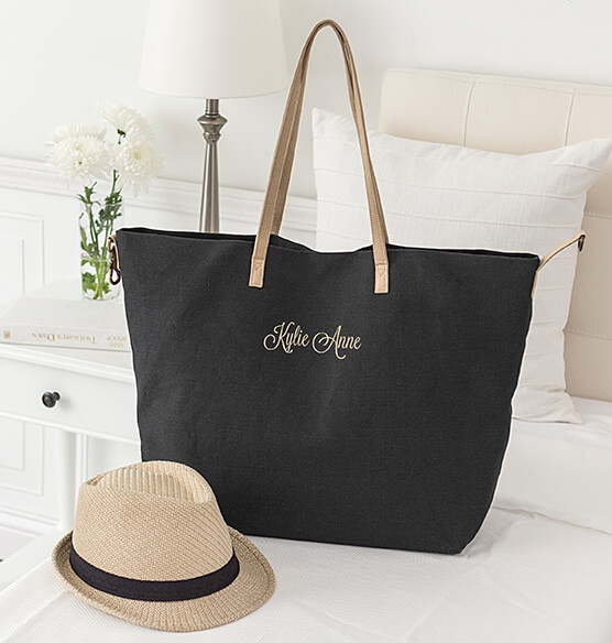 Personalized Black Overnight Tote
