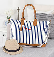 Totes & Bags - Personalized Striped Weekender Tote