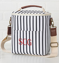 Totes & Bags - Personalized Striped Bottle Cooler