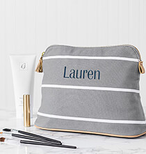 Totes & Bags - Personalized Striped Cosmetic Bag