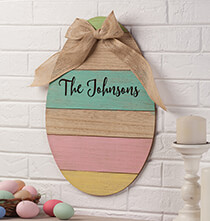 Personalized Wood Egg Sign with Burlap Bow