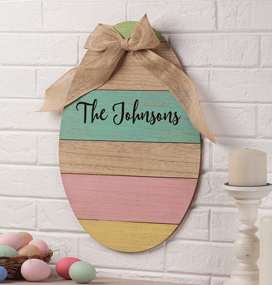 Personalized Wood Egg Sign with Burlap Bow - View 1