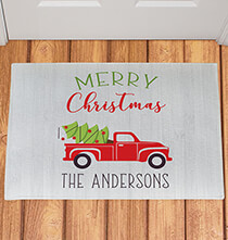 Holiday Décor - Personalized Red Truck Christmas Doormat