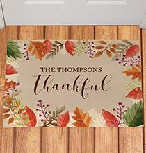 Holiday Décor - Personalized Thankful Doormat