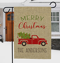 Holiday Décor - Personalized Red Truck Christmas Burlap Garden Flag