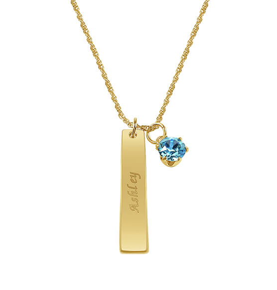 Personalized Ladies ID Pendant with Birthstone Charm - View 1