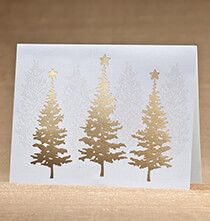 Holiday Cards - Golden December Christmas Card, Set of 18