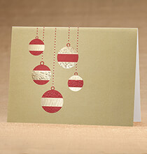 Golden Cascade Ornaments Christmas Card, Set 18