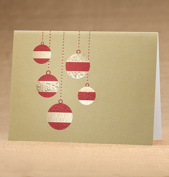 Golden Cascade Ornaments Christmas Card Set 18