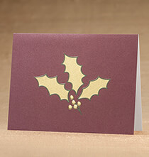 Holly Leaf Christmas Card, Set of 18