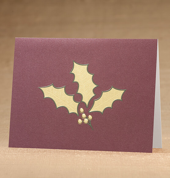 Holly Leaf Christmas Card, Set of 18 - View 1