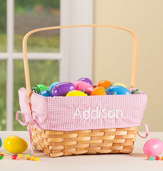 Personalized Pink Gingham Wicker Basket