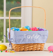 Easter - Personalized Blue Gingham Wicker Easter Basket