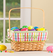 Easter - Personalized Plaid Wicker Easter Basket