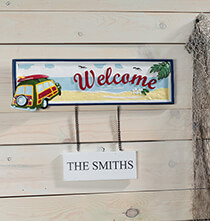 Outdoor Plaques & Decor - Personalized Welcome Beach Sign