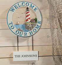 Outdoor Plaques & Decor - Personalized Welcome Lighthouse Sign