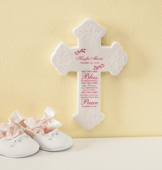 Personalized Bless This Child Ceramic Cross