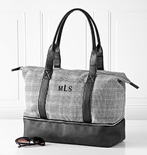 New - Personalized Canvas Tote with Leather Handles