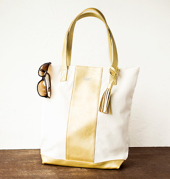 Personalized Gold Faux Leather Weekender Tote - View 1
