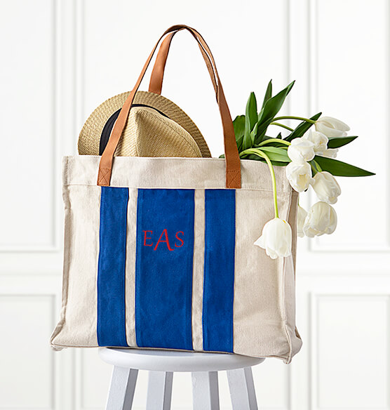 Personalized Striped Canvas Tote with Leather Handles - View 1