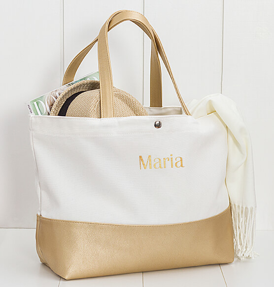 Personalized Gold Metallic Color Dipped Tote Bag