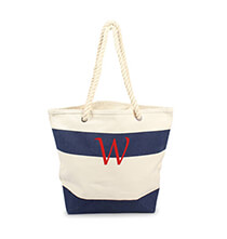 New - Personalized Striped Canvas Tote with Rope Handles