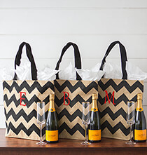 New - Personalized Chevron Natural Jute Tote Bag