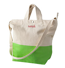 New - Personalized Kiwi Color Dipped Canvas Tote