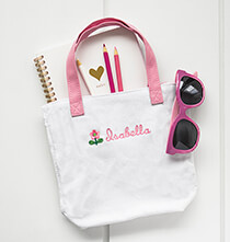 New - Personalized Child's Pink Flower Tote Bag