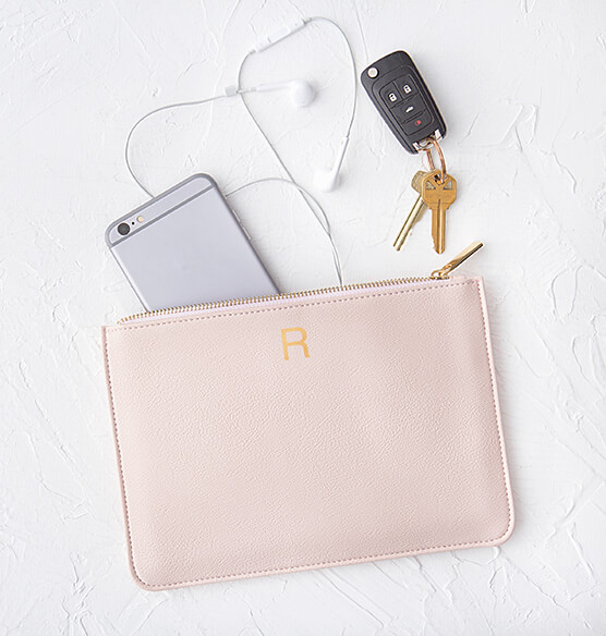 Personalized Embossed Vegan Leather Clutch