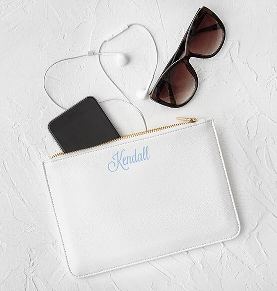 Personalized Embroidered Vegan Leather Clutch