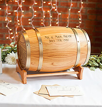 Wedding Essentials - Personalized Wine Barrel Reception Gift Card Holder