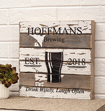 Top Gifts for Him - Personalized Pub Reclaimed Wood Sign by Sweet Bird & Co.