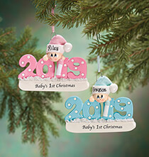 "New - Personalized 2019 ""Baby's 1st Christmas"" Ornament"