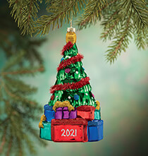 New - Personalized Glass Tree with Gifts Ornament