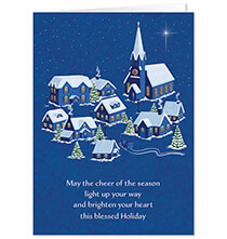 New - Personalized Peaceful Village Christmas Card Set of 20
