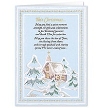 New - Embroidered Chapel Christmas Card Set of 20