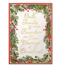 New - Personalized Faith, Family, Friends Christmas Card Set of 20