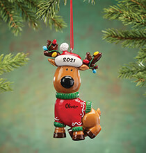 New - Personalized Reindeer in Sweater Ornament
