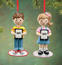 New - Personalized Child with Tablet Ornament