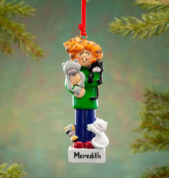 Personalized Crazy Cat Person Ornament