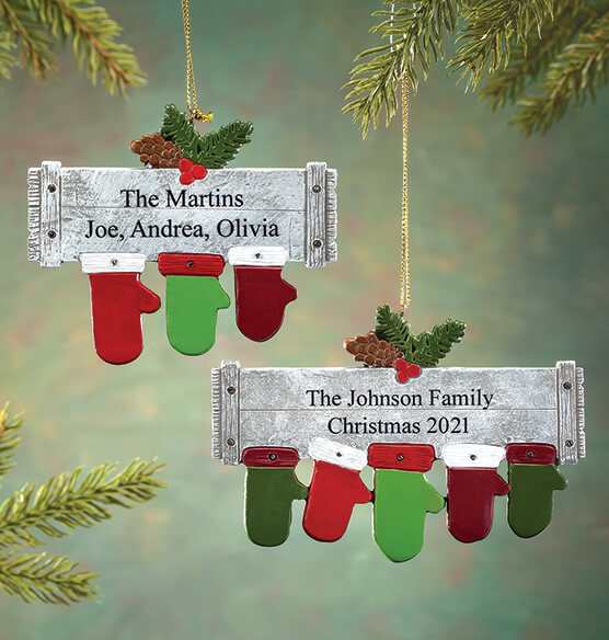 Personalized Family Mittens Ornament - View 1